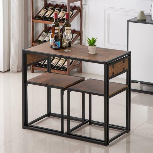 Small Table And 2 Chairs Breakfast Bar Kitchen Dining Room 3 Piece Furniture Set $90.89