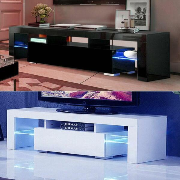 High Gloss TV Unit Cabinet Stand with LED Lights Shelves Home Furniture $122.90
