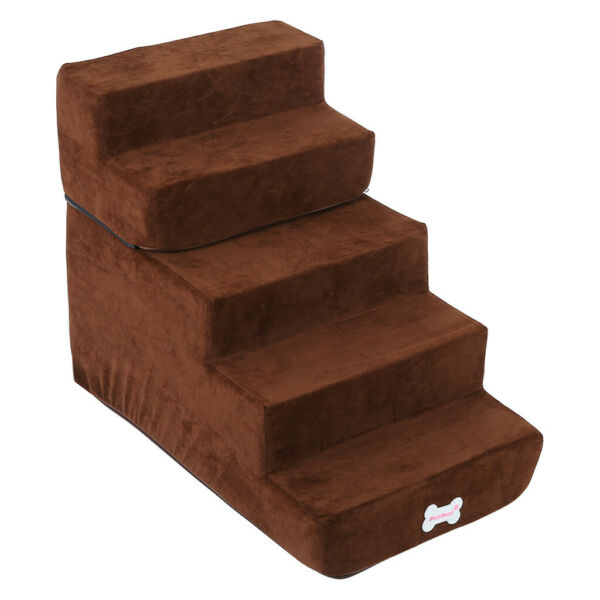 Easy 5 Steps Dog Stairs for High Bed Pet Cat Ramp Ladder with Removable Cover