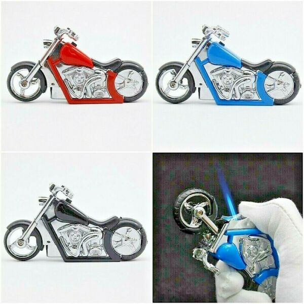 Creative Refillable Jet Butane Blue Flame Windproof Motorcycle Fire Gas Lighter