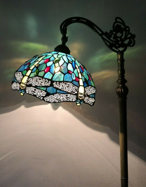 """Enjoy Tiffany Floor Lamp Dragonfly Green Blue Stained Glass Antique Vintage H64"""""""