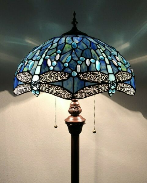 """Enjoy Tiffany Floor Lamp Sea Blue Stained Glass Dragonfly Antique Vintage H64"""""""