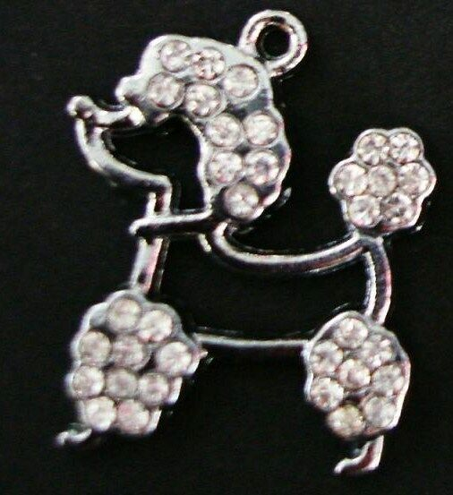10 Crystal Poodle Dog Silver Plated Rhinestone Charm Pandent Beading Jewelry K9 $8.24