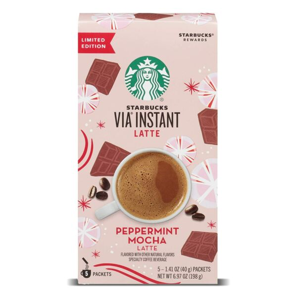 Starbucks Via Instant Peppermint Mocha Latte Limited New 5ct FREE SHIPPING