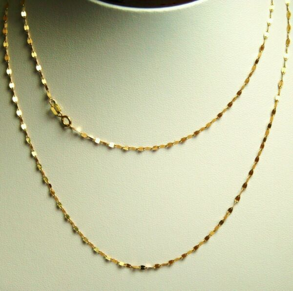 14k solid y gold 24 inches long mirror link strong very sparkly chain 1.7 grams