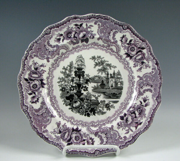 Antique Staffordshire Black amp; Purple Fountain Scenery Plate by Adams
