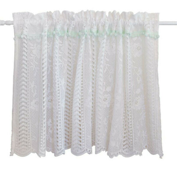 1pc American Style White Lace Short Curtain Coffee Curtain Small Kitchen Curtain