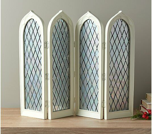 4 Panel Mirrored Stained Glass Decorative WHITE Screen by Valerie PARR HILL