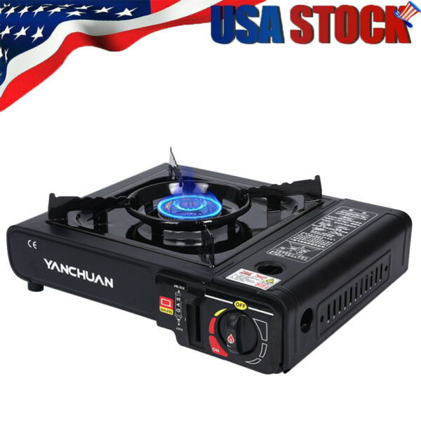 New Dual Fuel Propane amp; Butane Portable Outdoor Camping Gas Stove Black