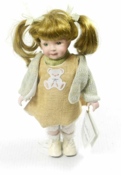 Duck House Heirloom Dolls Porcelain Girl with Sweater and Burlap Dress 11.5quot;
