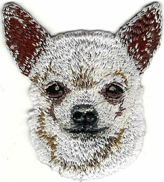 2quot; x 2 1 4quot; White Chihuahua Head Portrait Dog Breed Embroidery Patch $4.99