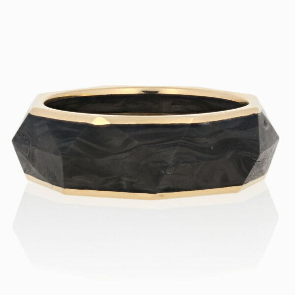 NEW David Yurman Torqued Faceted Forged Carbon Band 18k Yellow Gold Ring Size 9 $799.99