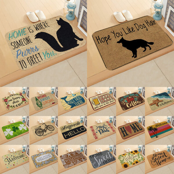 Funny Welcom Entrance Floor Mats Rug Flannel Non slip Doormat Outdoor Mat Carpet