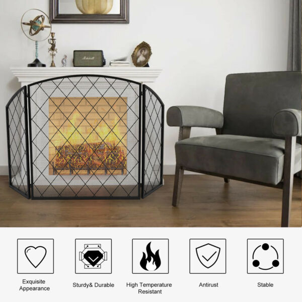 Fireplace Screen Modern Style Mesh Metal Ember Spark Hearthside Guard Arched
