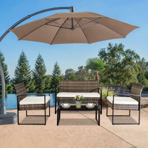 4 PCS Rattan Patio Furniture Set Cushioned Sofa Chair Coffee Table Garden Lawn