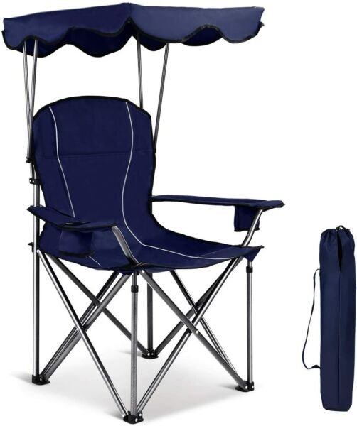 Camping Chairs With Canopy Shade Cup Holder Outdoor Folding Chair Portable Blue