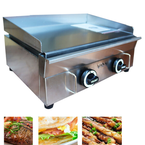 Commercial Countertop Gas Griddle 22 in Restaurant Flat Top Grill BBQ 2800PA US