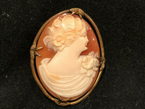 Antique Hand Carved Shell Cameo Pin or Pendant Marked 1 20 10kt