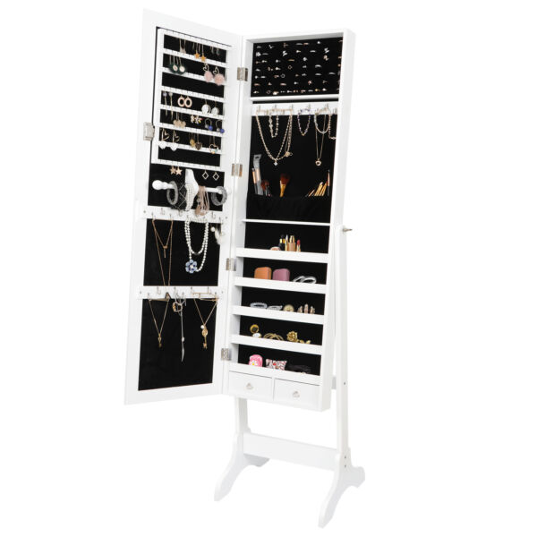 Jewelry Cabinet Armoire Large Box Organizer with Mirror Armoire Storage Indoor