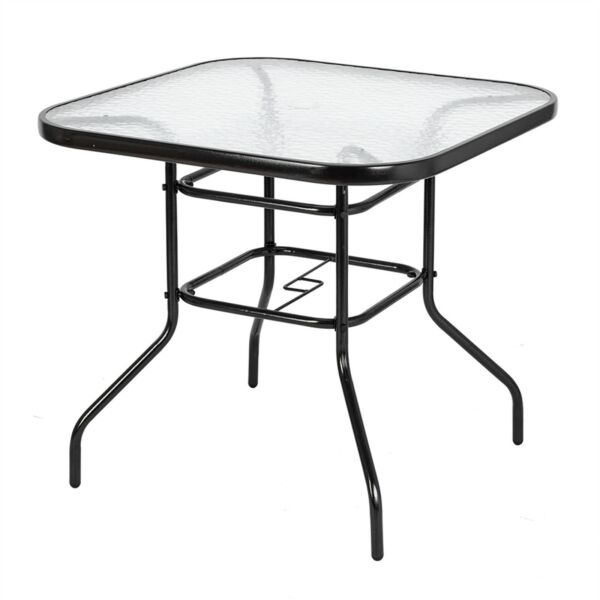Outdoor Dining Table Square Toughened Glass Table Yard Garden Glass Table Patio