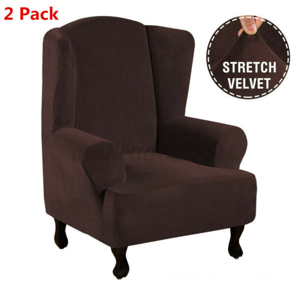 2 Pack Wing Chair Slipcovers Armchair Sofa Stretch Covers Protector Coffee $43.68