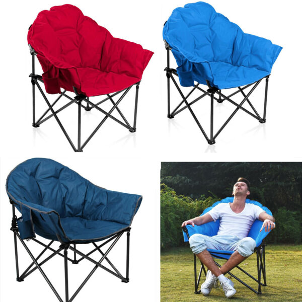 Oversized Folding Camping Chairs Padded Moon Round Chair Saucer Recliner and Bag