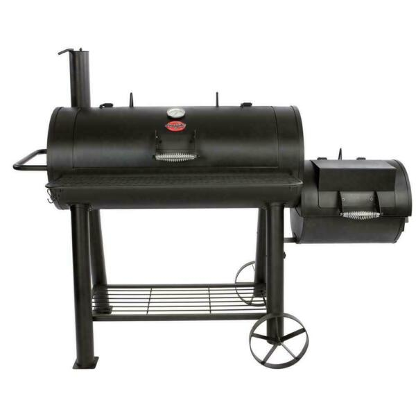 Char Griller Barrel Grill 1012 sq in. Built in Thermometer Adjustable Smokestack