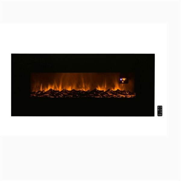 Electric Led Black Fireplace Remote Timer Bottom Vent 50 x 21 Tempered Glass