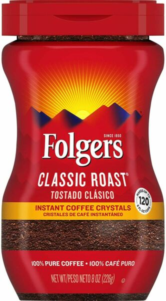 Folgers Classic Roast Instant Coffee Crystals 8 Ounces $6.51