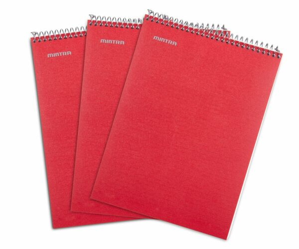 Top Bound Spiral Notebook Red College Ruled 3pack