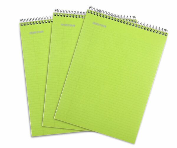 Top Bound Spiral Notebook Green College Ruled 3pack