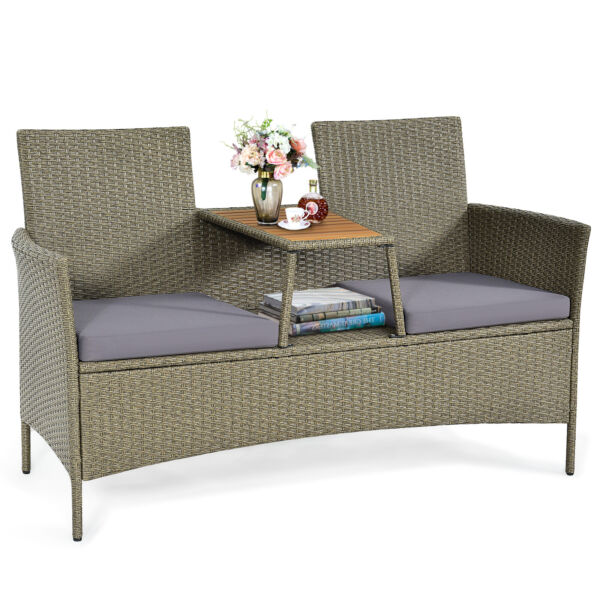 Topbuy Outdoor Patio Rattan Loveseat Sofa Set w Cushion $169.95