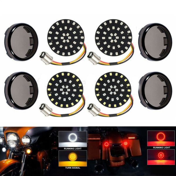 4X LED Turn Signals Light Inserts Smoke Lens For Harley Touring Street Glide