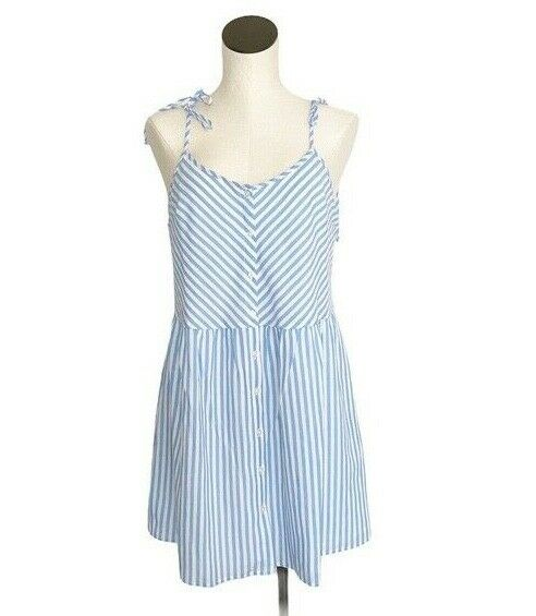 NWT Women Levi's Striped Button Front Alice Sun Baby Doll Blue White Dress S