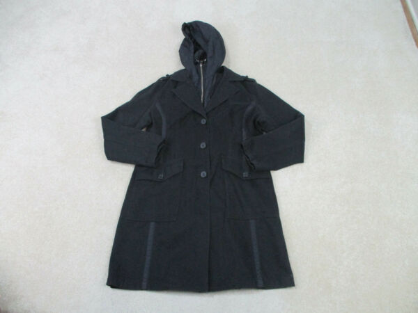 Tommy Hilfiger Jacket Womens Large Black Outdoors Hooded Parka Coat Ladies A65 $23.10