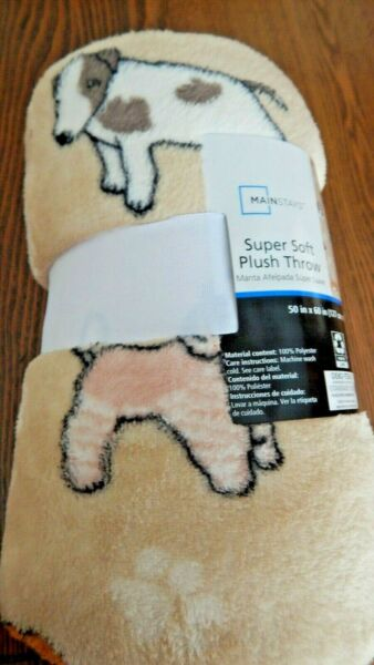 NWT MAINSTAYS Dog Dogs Tan Plush Throw Blanket 50 X 60 Inches 100% Polyester $19.99