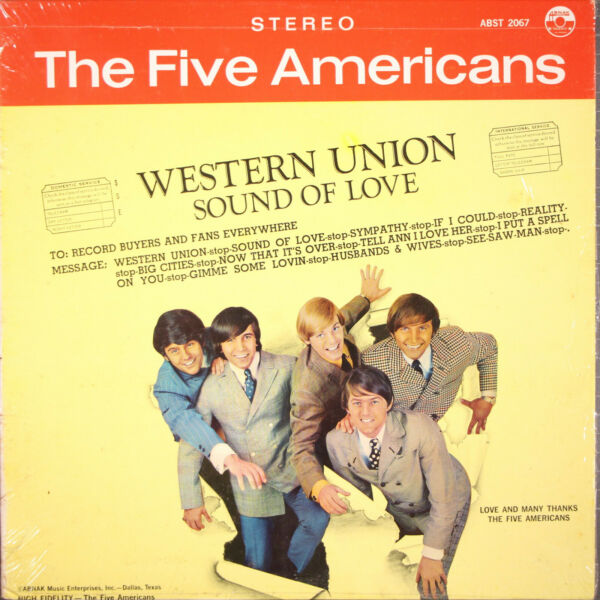 The Five Americans Western Union LP Abnak ABST 2067 Shrink on Cover