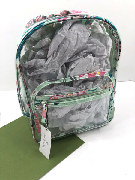 Vera Bradley Clearly Colorful STADIUM CLEAR Backpack MINT FLOWERS Floral NWT