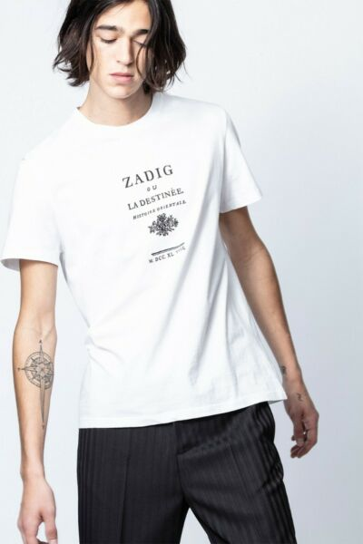 Zadig amp; Voltaire Men#x27;s Tommy T shirt White Cotton Printed Summer L NEW 214835 $44.96