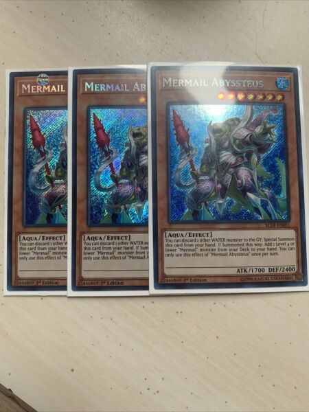 3x M NM Mermail Abyssteus BLLR EN051 Secret Rare 1st Edition YuGiOh