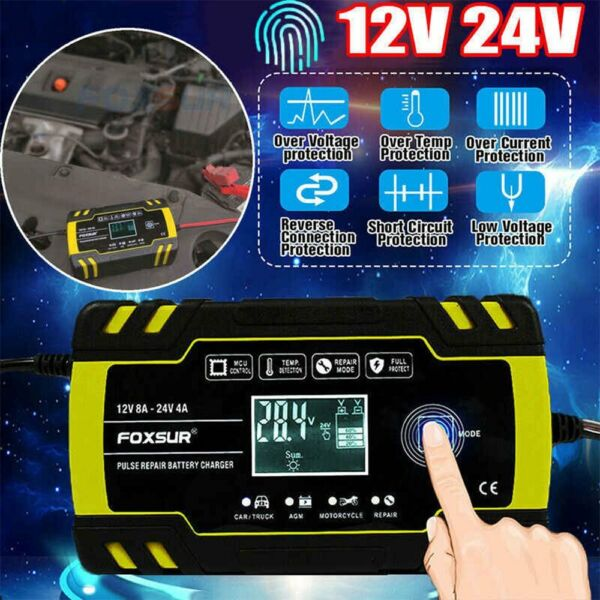 Automatic Intelligent Car Battery Charger 12 24V 8A Pulse Repair Starter AGM GEL $24.95