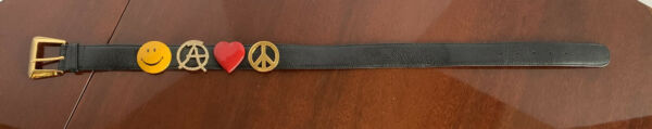 Authentic Moschino Belt Peace heart smiley face crystals Size 28 black leather $99.99