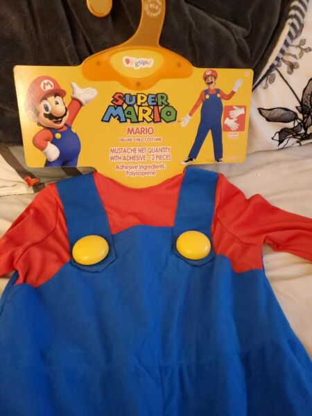 Super Mario Child Costume Size M 7 8 Gloves hat and mustache not included