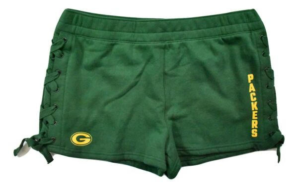 Junk Food Womens NFL Green Bay Packers Lace Up Side Shorts New XS 2XL