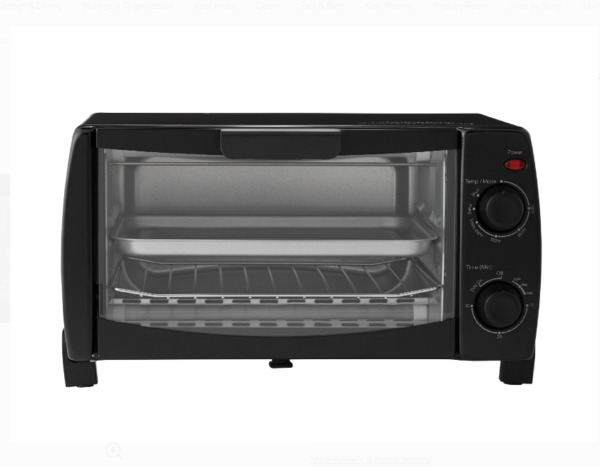 Mainstays 4 Slice Black Toaster Oven with Dishwasher Safe Rack amp; Pan 3 Piece