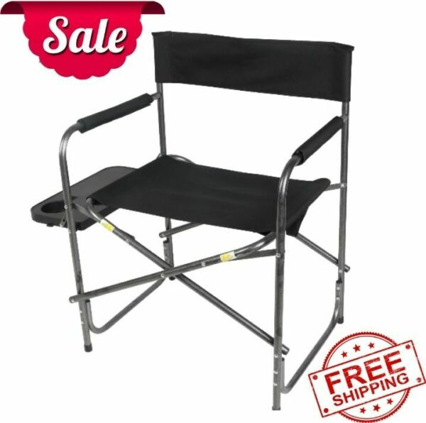 Director's Chair with Side Table Black Outdoor Sports Camping NEW