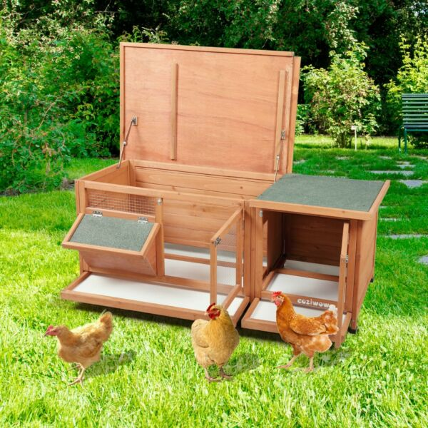 Outdoor Wood Rabbit Hutch Cage House Bunny Chicken Coop Habitat With Tray $108.99