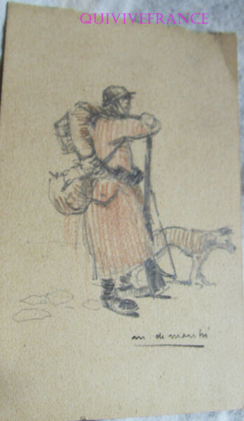 PL123 Drawing Poilu Infantryman Of 1940 With His Her Dog Per Mario de Marchi $91.13