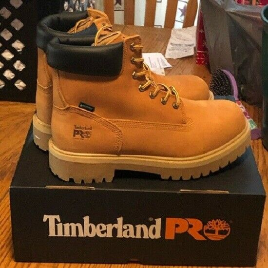 Men#x27;s Timberland PRO 6 Leather Steel Toe Waterproof Boots Wheat 9M $105.00