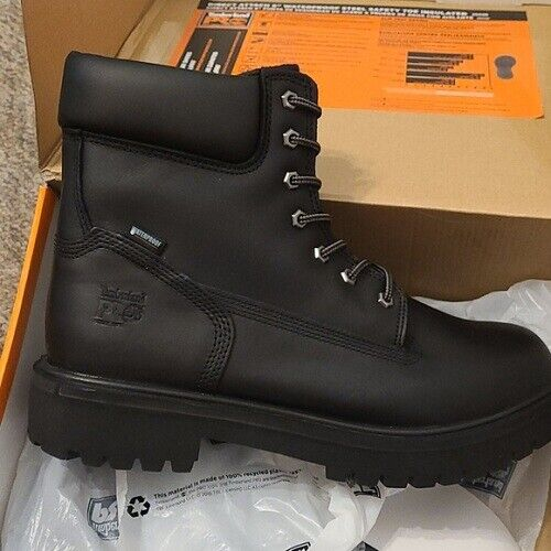 Men#x27;s Timberland PRO 6 Leather Direct Attach Waterproof Boots Black 8M $99.00